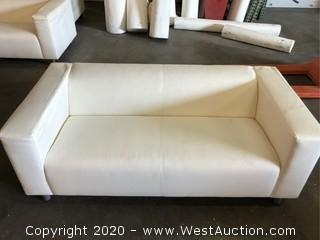 White Faux Leather (Vinyl) Couch