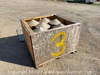 (6) Galvanized Steel Rain Caps in Crate
