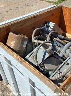 Crate of Cords and Power Boxes