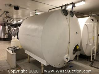 Horizontal Brite Tanks with Cooling Lines 70 bbl (2,170 Gallons)