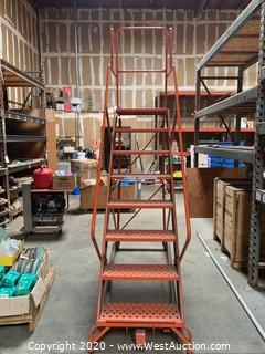 8-Step Rolling Warehouse Ladder