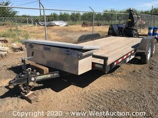 2015 IP Manufacturing 7'x16' Flatbed Trailer with Kobalt Storage Toolbox