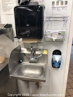 Stainless Hand Wash Sink with Left Side Back Splash