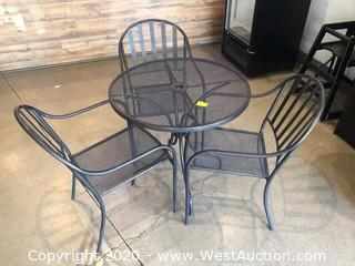 (1) Wire Mesh Bistro Table And (3) Chairs
