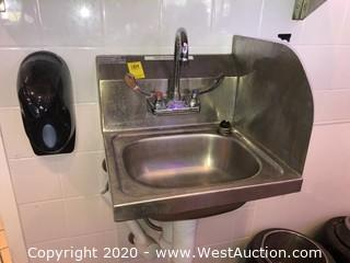 Stainless Hand Wash Sink with Right Side Back Splash
