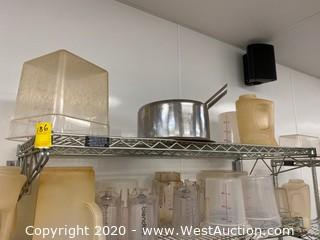 (1) Wall-Mounted 4' Stainless Steel Wire Shelf with Contents
