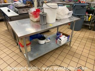 5' Stainless Steel Table with Shelf and Contents