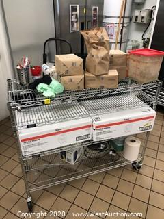 NSF 3 Shelf Wire Shelf  Utility Cart with Contents of Paper Goods and More