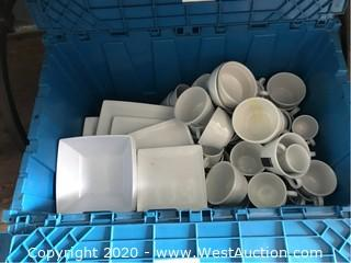 Plastic Bin Of Porcelain Cups, Plates, Bowls, And More