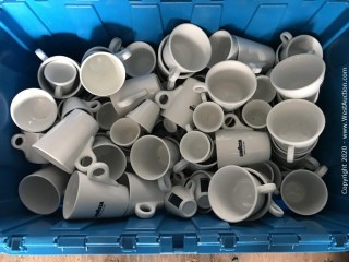 Plastic Bin With Porcelain Coffee/Espresso Cups