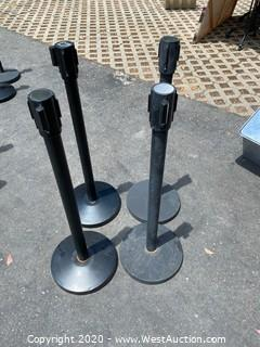 (4) Stanchions with Retractable Ribbons