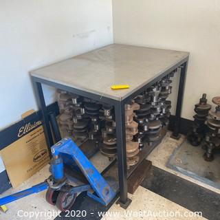 Table with Racks for Crankshafts