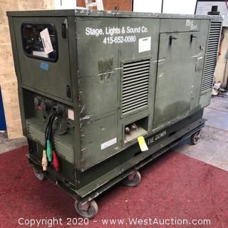Military 35 kw Diesel 3 Phase Cam Lock Generator on Dolly