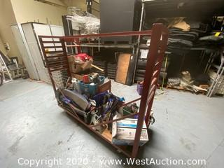 Custom Industrial Piping And Drapery Push Cart With Contents Included