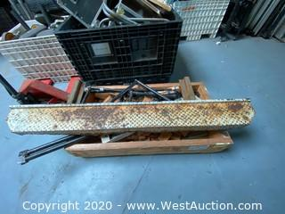 Crate Of Assorted Hardware, Steel, Rails