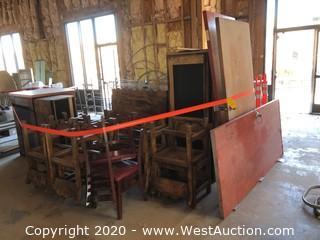 Bulk Lot of Restaurant Furniture; Booths, Chairs, Doors, Bar Tops, Glass, Metal Decor