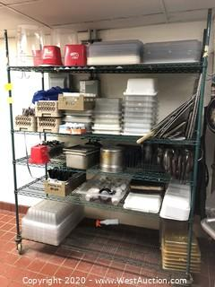 Contents of Rack; Bins, Lids, Trays, Pitchers, Flatware, Grills