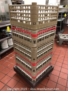 (5) Stackable Glass Racks on Cart with Glassware