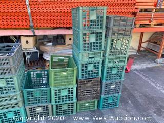 (10) Plastic Crates - Various Sizes