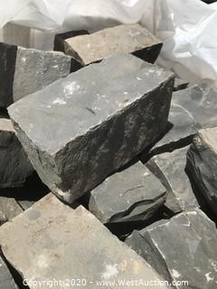(1) Pallet of 4x4x8 inch Split Black Natural Stone Cobble