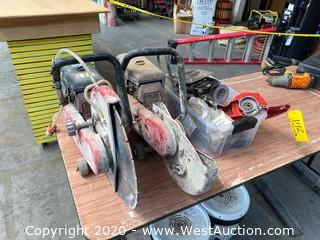 (2) Hilti Cement Saws with Box of Accessories