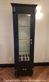 (1) Wood and Glass Curio Display Cabinet