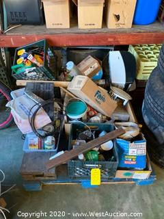 Pallet of Cables, Milk Crates of Assorted Screws, Electrical, Paint, Caulking Gun, & More