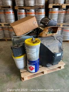 Pallet with Toaster Oven, Vehicle Battery, TV, Dishwasher