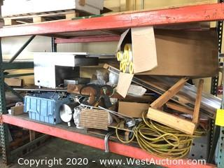 Shelf of Commercial Sink, Metal Poles, Electrical Cable, Copper Fittings, Chain, Brackets, Old English Steel Lettering, Casters, BBQ Propane Tank, (8) Pipe Insulation Tubes & More