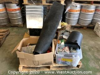 Pallet of Assorted Brackets, Electric Motor, Nails, Screws, Mat, & More