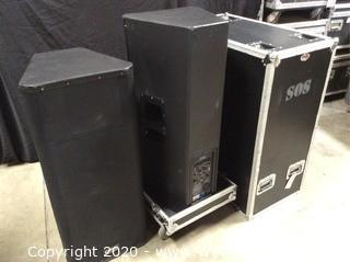 """(2) QSC KW153 1000W 15"""" 3-way Powered Speakers in Dual Rolling Road Case"""