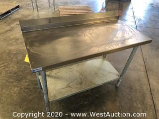 4' Stainless Prep Table with Undershelf and Backsplash