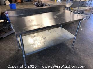 5' Stainless Prep Table with Undershelf and Backsplash