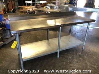 6' Stainless Prep Table with Undershelf and Backsplash