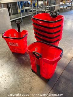 (7) Plastic Grocery Market Shopping Baskets with Wheels