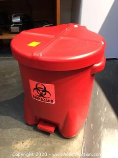 Plastic Biohazard Waste Can with Foot-Operated Lid