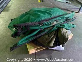 Pallet Of Green Mesh Coverings and Desk Chair Mats