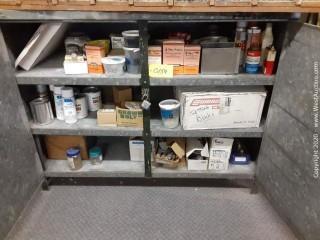 Heavy Gauge Storage Cabinet with Door Closures and Various Supplies