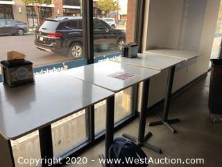 (4) Bar Height Tables and (5) Chairs