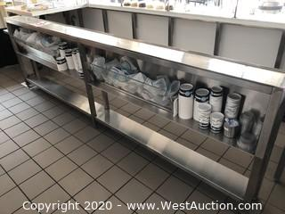 """Stainless Steel Prep Counter 9""""x118"""" with Storage"""