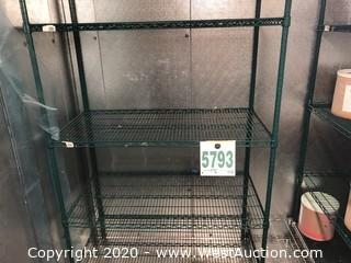 (5) Green Expoxy Wire Shelving Units