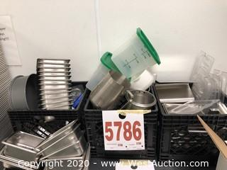 (3) Crates of Small Stainless and Plastic Kitchenware