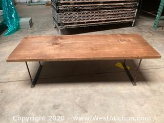 "36""x13"" Wooden Bench With Metal Legs"