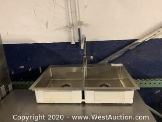 Stainless Steel Drop In 2 Basin Sink With Faucet