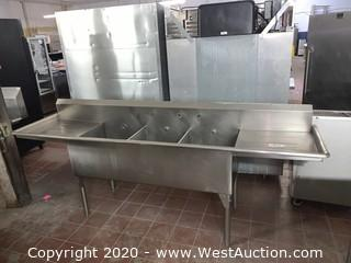 Stainless Steel 3 Compartment Sink Square Gauges
