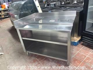 """48""""x35""""x35"""" Stainless Steel Work Table with Built in Sink"""