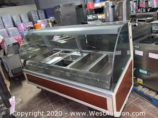 Hot Deli Display Case With Curved Glass Front 77""