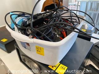 Bin Of Electronics; Extension Cords, Card Readers, HDMi Cables