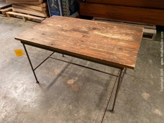 """Table, Metal Frame with Wood Top 36"""" x 21"""" x 21"""""""