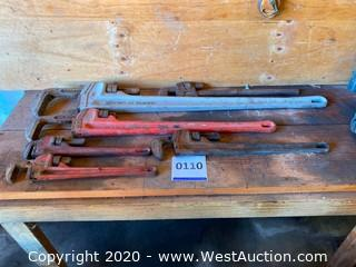 (6) Pipe Wrenches, Varying Sizes